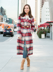 sydne summer's fashion reviews & style tips,blogger,coat,sweater,belt,jewels,jeans,shoes,fall outfits,winter outfits,boots,plaid coat,fall coat,tumblr,plaid,red coat,denim,sock boots,long coat