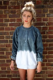 sweater,ombre,blue,white,grey,long,long sleeves,tie dye,tie dye sweater,ombre bleach dye,thick sweater,shirt