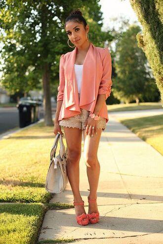 jacket white tank top coral blazer beige shorts coral strappy heels beige bag blogger hoop earrings