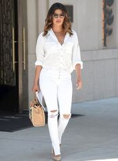 jeans,priyanka chopra,white,white jeans,blouse,white blouse,sunglasses,bag,summer,summer outfits,celebrity,high heels,heels,shoes