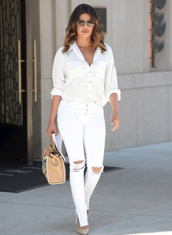 jeans priyanka chopra white white jeans blouse white blouse sunglasses bag summer summer outfits celebrity high heels heels shoes