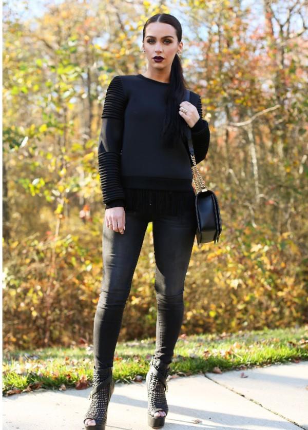black pleated sweatshirt sweater black sweatshirt pleated sweater black pleated