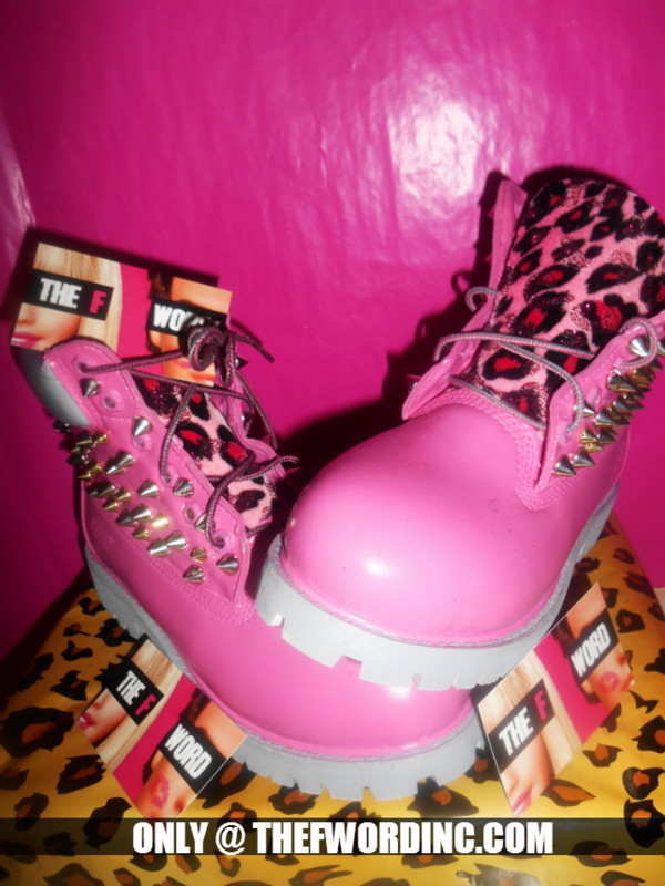 shoes pink leopard print timberlands hot pink new sexy