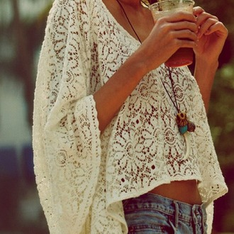 blouse shirt lace white crochet necklace summer outfits t-shirt outfit owl necklace long sleeves denim