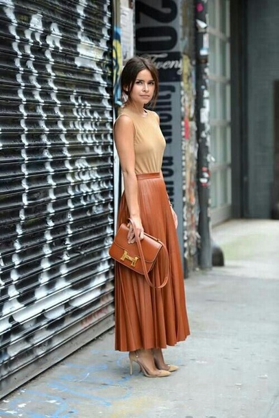 skirt pleated leather brown