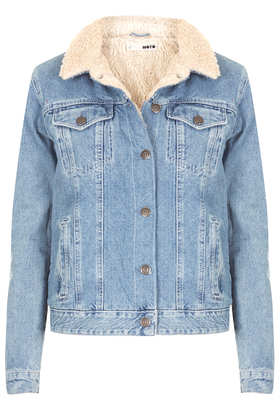 MOTO Vintage Borg Denim Jacket - Jackets & Coats  - Clothing  - Topshop
