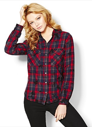 High Low Flannel Plaid Shirt - Shirts - Garage