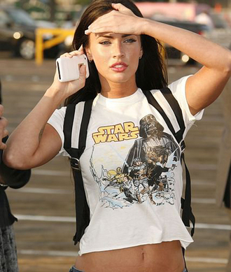 shirt megan fox t-shirt star wars white crop tops girly outfits tumblr belt jeans style beautiful modeling career white t-shirt model actress meagan good white cropped