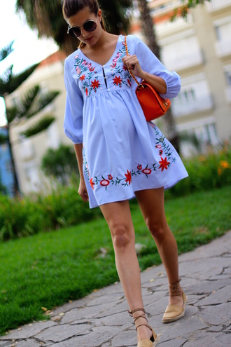 marilyn'scloset blogger dress bag shoes sunglasses blue dress orange bag espadrilles summer outfits