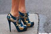 shoes,metallic shoes,pattern,heels,wedges,high heels