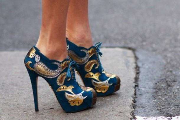 shoes metallic shoes pattern heels wedges high heels
