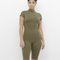Now you see me olive mock neck bodycon romper at flyjane
