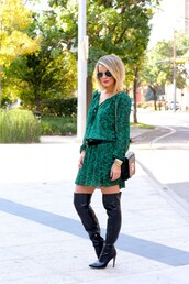 the courtney kerr,blogger,belt,bag,jewels,sunglasses,green dress,black boots,fall outfits