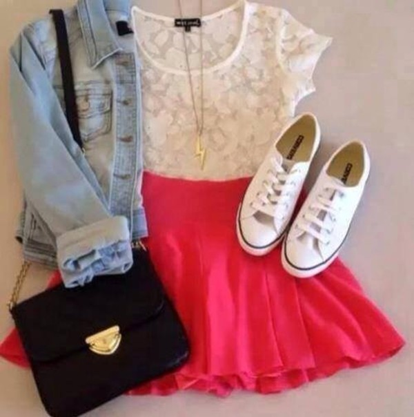 jacket clothes dress t-shirt skirt shoes