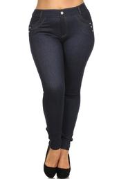 leggings,plus size 4-pocket high-waist skinny denim leggings,plus size,plussizeleggings