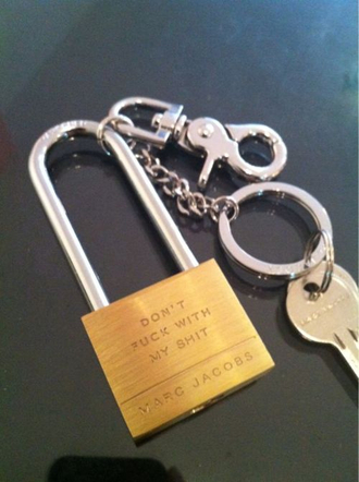 jewels lock marc jacobs quote on it keychain home accessory