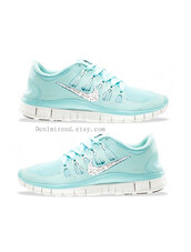 shoes,swarovski,swarovski nike free runs 5.0,swarovski nike trainers,nike,nike running shoes,mint green nike shoes,mint green shoes,bling nikes