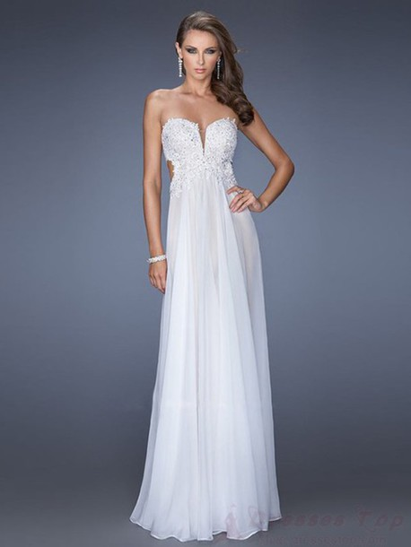 dress prom dress white dress long prom dress