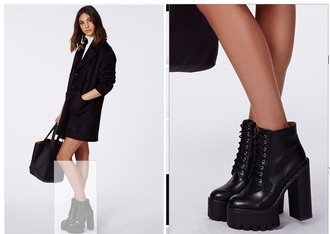 shoes black boots high heels chunky sole platform shoes lace up boots