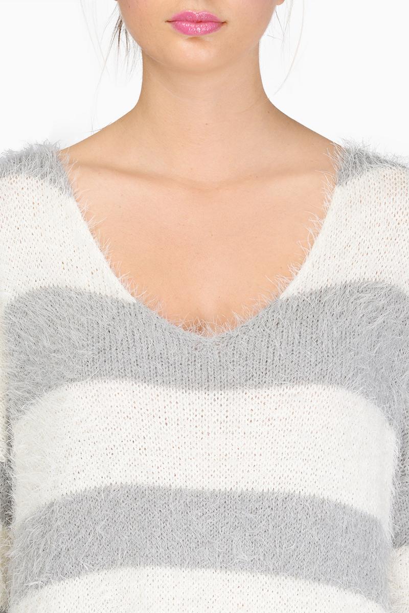 Fuzzy striped sweater $74
