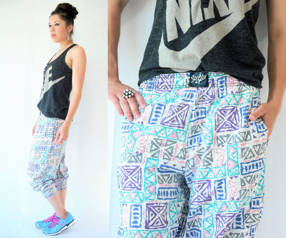 Vintage 80's Neon Aztec Tribal Print Harem Slouch Jogging Track Pants