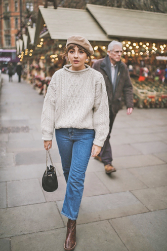 sweater tumblr knit knitwear knitted sweater cable knit white sweater denim jeans blue jeans boots brown boots beret