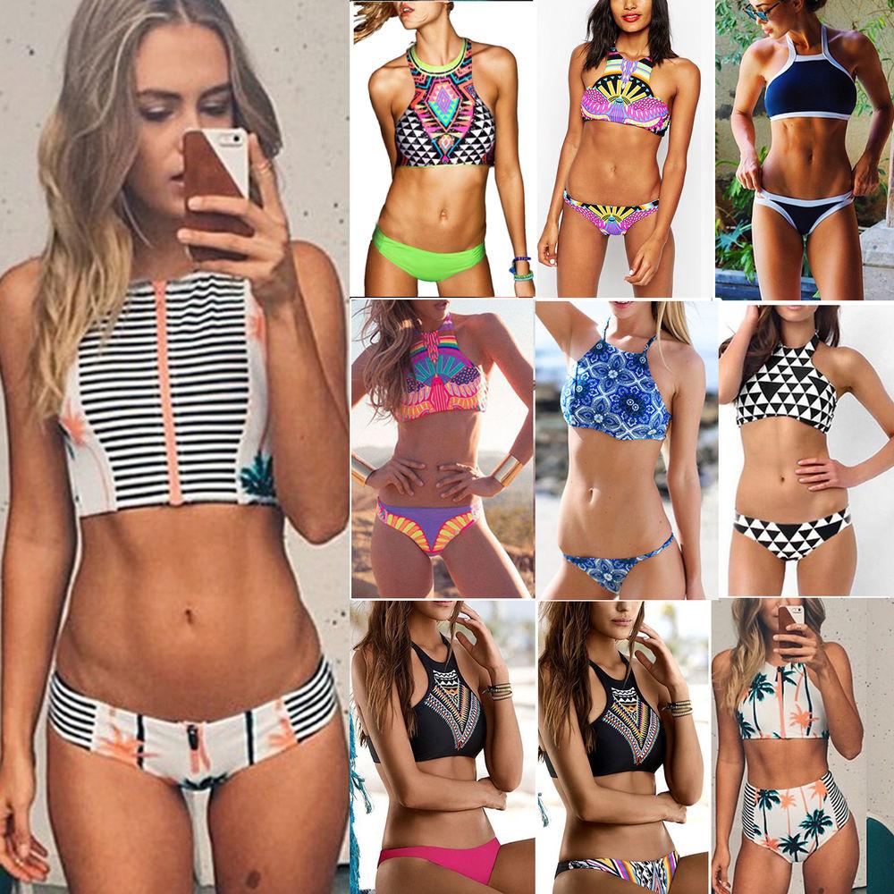 Sexy Women Halterneck Crop Top Push Up Padded Bra Bikini Beach Swimwear Swimsuit