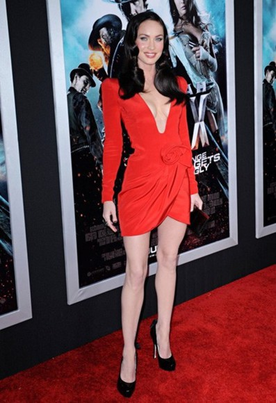 dress megan fox red dress
