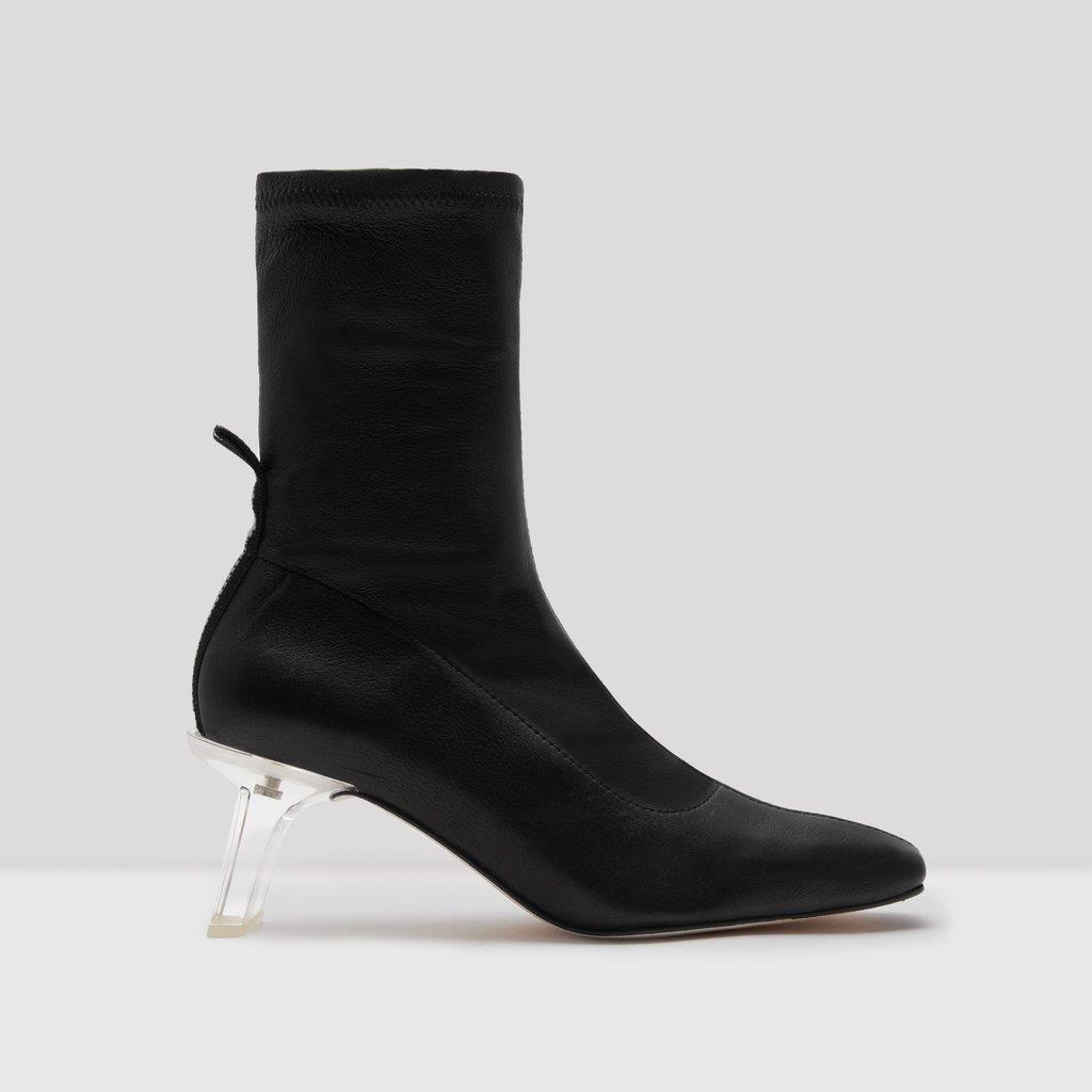 Darja Black Leather Stretch Boots