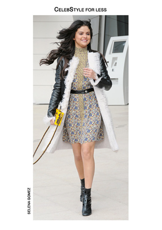 dress selena gomez celebstyle for less floral dress coat black booties yellow bag shoes belt bag fashion week 2015 waist belt