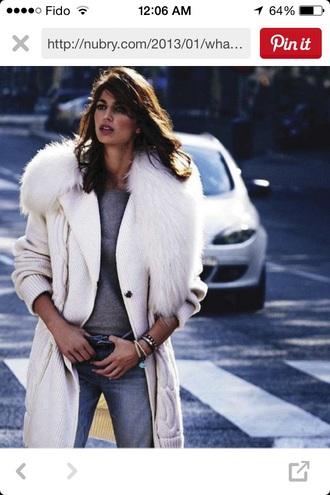 sweater cream thick knitwear fur