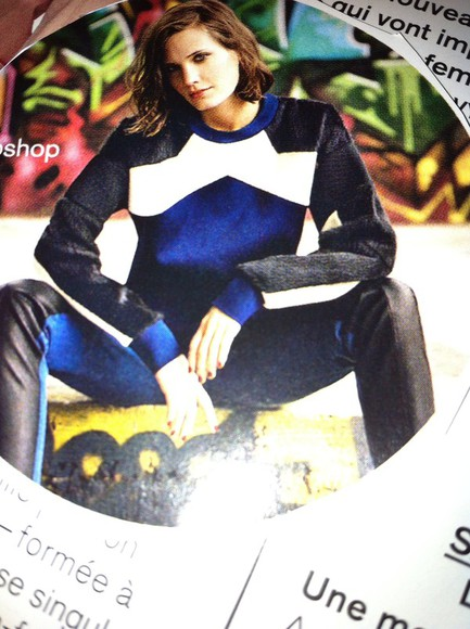 topshop sweater blue white winter sweater blue sweater white sweater black sweater black find it magazine glamour mag glamour