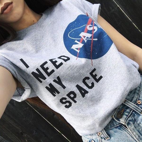 t-shirt nasa shirt i need my space grey t-shirt