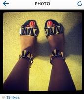 shoes,ankle strap,studs,studded shoes,black,gold,flat sandals,sandals