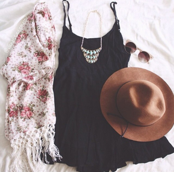 brown hat hat jewels clothes summer outfits floral little black dress summer dress dress sunglasses cardigan jacket black dresses cute dress vest roses frange necklace turquoise silver silver necklace turquoise jewelry turquoise jewels retro sunglasses retro hippie hippie chic boho bohodress coachella coachella style