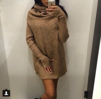 dress beige beige dress sweater dress oversized sweater knitted dress