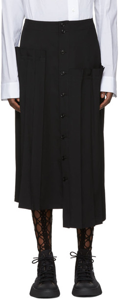 Ys skirt pleated skirt pleated black