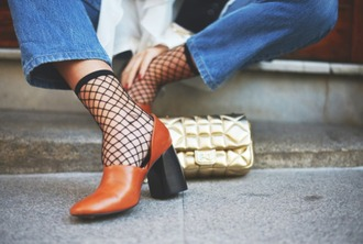 shoes mules nude heels fall outfits fall colors fall accessories block heels fsjshoes heels heel boots streetstyle fishnet tights fishnet socks trendy