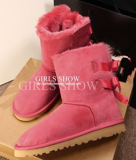 free shipping bowtie no ugglis 2014 new 3280 knee high fur one piece snow boots ribbon bow snow boots-inBoots from Shoes on Aliexpress.com