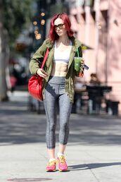 leggings,sportswear,sports bra,lily collins,sneakers,sunglasses,purse,grey leggings,workout leggings,red hair,top