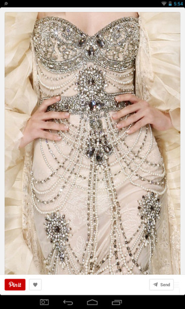 haute couture beaded dress detailed jewels