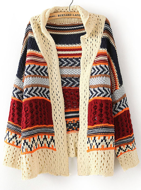 Beige Long Sleeve Tribal Print Asymmetrical Cardigan - Sheinside.com