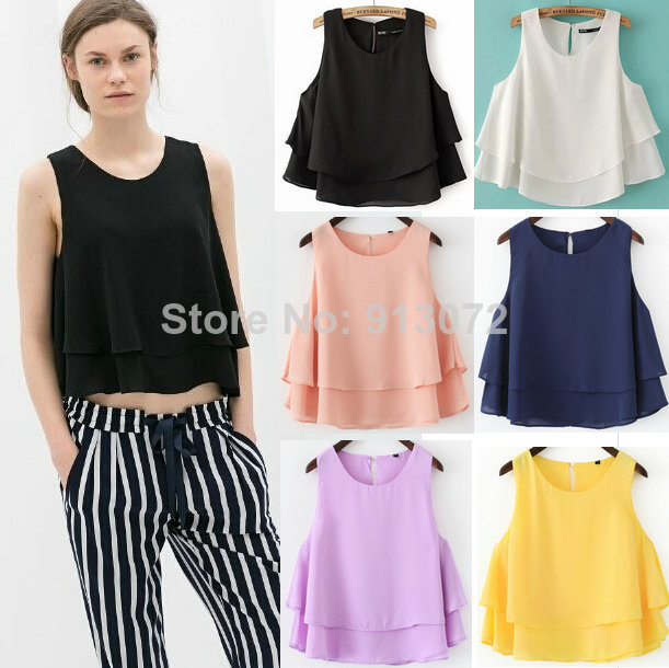 ST1705 New Fashion Ladies' elegant loose double layers short blouses O neck sleeveless Shirt casual slim brand designer tops-in Blouses & Shirts from Apparel & Accessories on Aliexpress.com | Alibaba Group