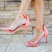 shoes,peach,heels,high heels,strappy heels,neon,neon heels,coral,coral heels,coral shoes,neon shoes,peach shoes,peach heels,summer,spring,escloset