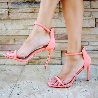 shoes peach heels high heels strappy heels neon neon heels coral coral heels coral shoes neon shoes peach shoes peach heels summer summer outfits spring spring outfits
