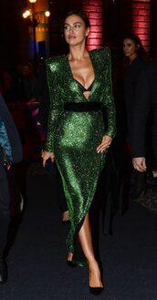 underwear,bra,gown,prom dress,sequins,sequin dress,green,green dress,irina shayk,wrap dress,dress