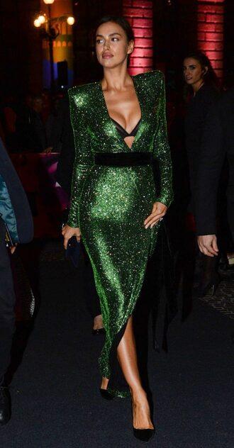 underwear bra gown prom dress sequins sequin dress green green dress irina shayk wrap dress dress