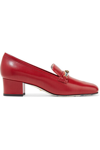embellished pumps leather red shoes
