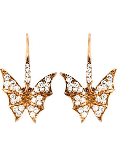 Stephen Webster rose gold rose women earrings gold grey metallic jewels