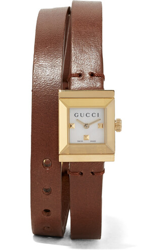 watch gold leather brown jewels